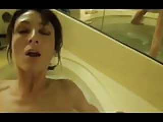 Tight Brunette MILF Bathroom Fuck