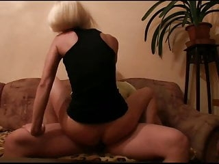 Sexy Blonde porn fan Eva rides me on the sofa