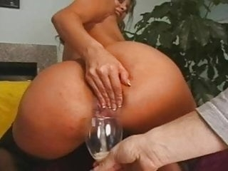 Gia Jordan drinks anal creampie from a glass