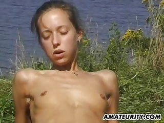 Amateur girlfriend outdoor suck and fuck action with facial