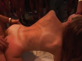 Gangbanged! Young slut gets cumshots at german Fickparty
